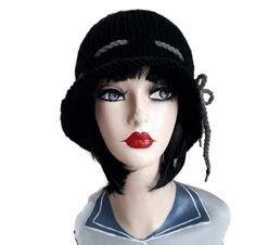 Flapper Hat Black Cloche Peaky Blinders Hand Knitted Chemo Gatsby Charleston by thekittensmittensuk on Etsy Flapper Hat, Animal Hats, Cloche Hats, Slouchy Hat, Knit Hats, Peaky Blinders, Gatsby, Hats For Women, Charleston