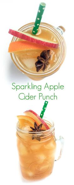 Sparkling Apple Cider Punch - Made with or without alcohol, your guests will love this Sparkling Apple Cider Punch- perfect for fall entertaining!