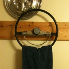 Vintage steering wheel towel holder