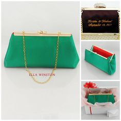 Emerald Green And Bright Red Bridesmaid Gift. Personalized Couture Mother Of The Bride Gift, Bridal Clutch, Wedding Clutch, Gift Box on Etsy, $59.00