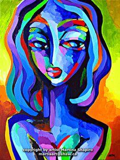 Blue Woman Abstract original painting by artist Martina Shapiro, contemporary female fine art