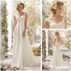Branco \ marfim Renda Vestido de Noiva Vestido de Noiva praia personalizado ata acima o tamanho 6 8 10 12 14 16 18 + US $88.99