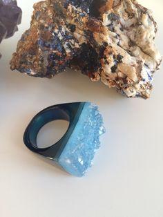 Blue Agate Druzy Gem Medicine Ring Sz 9