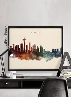 Seattle poster Seattle art print Washington by iPrintPoster