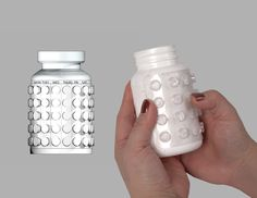 Medicine compliance mockup: Smart pill bottles with pills on the outside that punch in to mark the days of the week. Medicine Packaging, Pill Bottles, Digital Fabrication, Aba, Pills, Things To Buy, Product Design, Industrial Design, Mockup