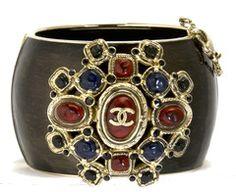 Chanel Multicolor Logo Black Contoured Cuff Bracelet
