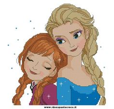 elsa e anna frozen punto croce