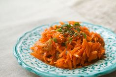 Middle Eastern carrot salad.  Shredded carrots and golden raisins dressed with honey, lemon and orange blossom water.