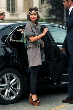 Miroslava Duma  -Chanel Headpiece  -Chanel Jacket  -Christinan Louboutin Shoes