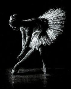 A Figurative drawing of a ballerina - created using simply white pencil on black paper. This is one of a series of smal...