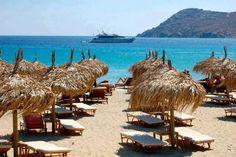 Platys Gialos beach in Mykonos,Greece.
