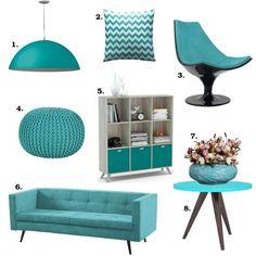 Algumas sugestões de móveis turquesa. Tem pendente, cadeira, almofada, estante, sofá azul turquesa e muito mais para você decorar a sua casa. Tudo da Mobly!