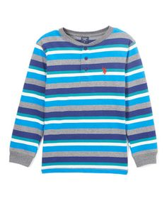 Look what I found on #zulily! Blue Tile Stripe Long-Sleeve Henley - Boys…