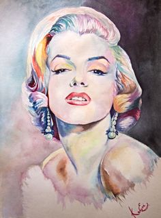 Marilyn Monroe by Koluga - watercolor painting   / This image first pinned to Marilyn Monroe art board here: http://pinterest.com/fairbanksgrafix/marilyn-monroe-art/ #Art #MarilynMonroe