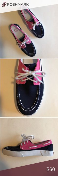 """🆕 Polo Pink & Navy """"Lilia"""" Canvas Shoes NWOT - These shoes want to go on your next vacation!   Pair with shorts or a mini skirt. Never worn.  Size -9.5 Polo by Ralph Lauren Shoes Sneakers"""