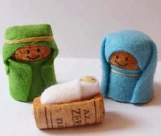 Nativity Crafts for Kids is part of Small Cork crafts - Simple wine cork, felt and elastic band nativity crafts for kids, no glueing, no cost kids craft Noel Christmas, Christmas Crafts For Kids, Holiday Crafts, Christmas Decorations, Christmas Nativity Scene, Christmas Ornaments, Wine Craft, Wine Cork Crafts, Wine Cork Ornaments