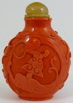 carved red coral Chinese snuff bottle