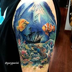Killer underwater tattoo by Fusion Artist @garyparisi from @maydaytattooco using…