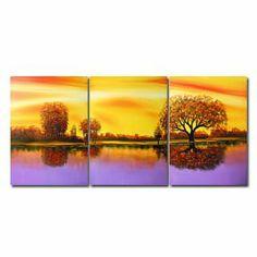 Beautiful Lake Oil Painting - Set of 3 - Free Shipping