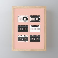 Cassette Pattern #3 | Some kind of nostalgia – I created this artwork to show different designs of the cassette tape. #decoration #unique #design #pattern #music #cassette #cassettes #sound #illustration #illustrator #graphicdesign #digital #stereo #tape #vintage #retro #mixtape #records #nostalgic #Society6 #Framedminiartprint #kathrinmay