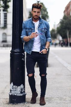 Trendy How To Wear Denim Jacket Men Mens Fashion How To Wear Denim Jacket, Jean Jacket Outfits, Denim Jacket Men, Denim Outfit For Men, Denim Men, Denim Boots, Men's Jacket, Denim Jackets, Urban Fashion Trends