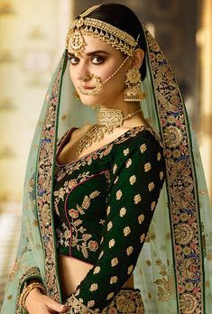 Featuring green and yellow bridal lehenga set with heavy intricate thread embroidery on top, back, bottom and dupatta. TOP: Velvet BOTTOM: Satin DUPATTA: Net WORK: Embroidery COLOR: Green and yellow…More Classic Indian Sari CLICK Visit link to read Indian Bridal Fashion, Asian Fashion, Pakistani Bridal, Bridal Lehenga, Indian Dresses, Indian Outfits, Kurti, Salwar Kameez, Indian Designer Wear