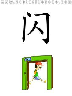 闪 = flash,dodge. Imagine a boy flashing by the door. Detailed Chinese Lessons @ www.yostarlessons.com