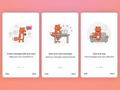 Onboarding screens designed by Stepan Dihich for UIGiants. Connect with them on Dribbble; Onboarding App, Web Design, Icon Design, Mobile App Design, Mobile Ui, Splash Screen, App Logo, App Design Inspiration, Music App