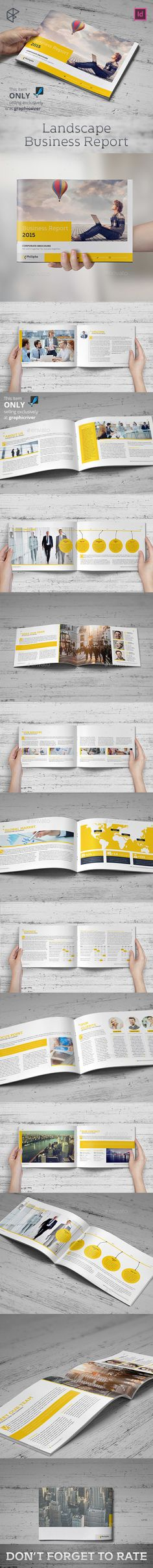 Landscape Business Report — InDesign INDD #letter #book • Available here → https://graphicriver.net/item/landscape-business-report/13422745?ref=pxcr