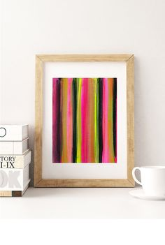 Bright Abstract Paper Painting Stripes of Pink by ElizabethEllenor