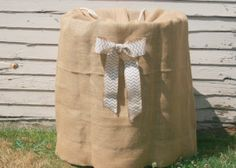 Burlap Keg Bag with Chevron Bow-  Rustic country wedding decor