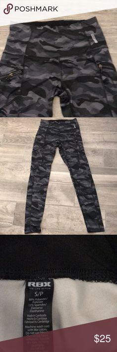 Camo workout leggings Black and grey workout leggings. Great for yoga, Pilates etc. two zip pockets for ID or key. Worn once and washed. In brand new condition RBX Pants Leggings