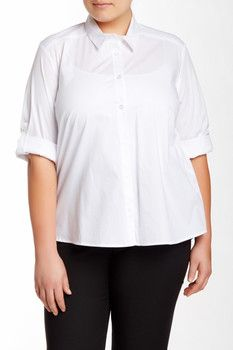 English Laundry Solid Roll Sleeve Shirt (Plus Size)