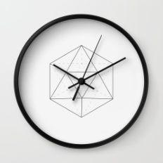 Black & white Icosahedron Wall Clock