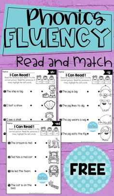 This phonics fluency read and match is the perfect way for students to practice phonics, reading fluency, and comprehension. These sets are ideal for beginning readers in kindergarten and in first grade to build confidence in reading. Phonics Reading, Teaching Phonics, Teaching Reading, Reading Comprehension, First Grade Phonics, First Grade Reading, First Grade Freebies, Kindergarten Lesson Plans, Kindergarten Literacy