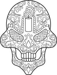 skull zentangle coloring page