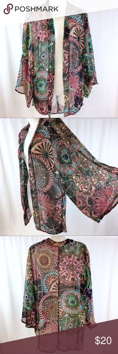 HAUTE SOCIETY made with love 💗Kimono SMALL This patterned Kimono is in very good condition. It has been gently pre-loved. It's a sheer kimono made of polyester. HAUTE SOCIETY Tops