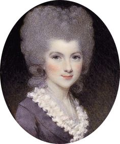 1780 Lavinia, Countess Spencer, née Bingham (1762-1831), in mauve dress with white frilled collar, powdered upswept hair by Samuel Shelley (auctioned by Christie's) Wm