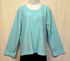 Adonna Blue Polyester Fleece Long Sleeve Lounge / Sleepwear Top / Shirt  Women's Size XL NWT www.bevsthisnthatshop.com