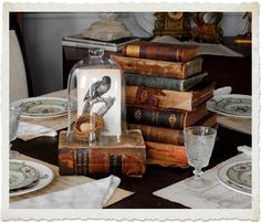 Bird, Glass Cloche and Books Centrepiece - this would be perfect for a book club luncheon.