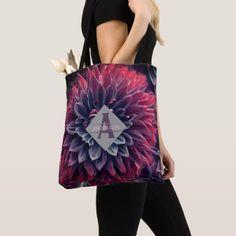 Bridesmaid TOTE Succulents Pink Purple Monogram - birthday gifts party celebration custom gift ideas diy