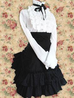 robe avec chemise blanche élégante à froufrous EGL EGA
