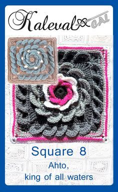 Square 8 for Kalevala CAL crochet-along. Crochet blanket with 24 squares. Tunisian Crochet, Crochet Granny, Crochet Yarn, Free Crochet, Crochet Afghans, Crochet Blankets, Crochet Designs, Crochet Ideas, Crochet Projects