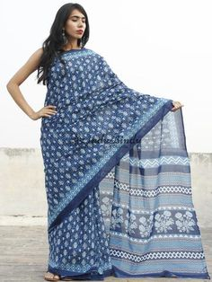 Indigo Blue White Hand Block Printed Cotton Saree In Natural Colors - S031702359