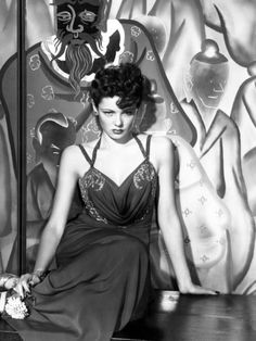 """Gene Tierney publicity still for """"The Shanghai Gesture"""", 1941 (gown designed by Oleg Cassini)"""