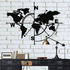World Map Compass - Metal Wall Art/Decor