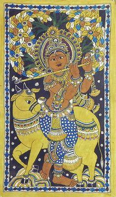 Murlidhar Krishna (Kalamkari Paintings on Cotton - Unframed) Ancient Indian Art, Indian Folk Art, Kalamkari Painting, Madhubani Painting, Lord Krishna Hd Wallpaper, Indian Arts And Crafts, Madhubani Art, Indian Art Paintings, Thai Art