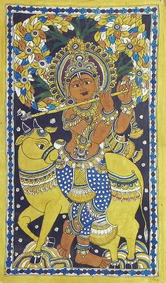 Murlidhar Krishna (Kalamkari Paintings on Cotton - Unframed))