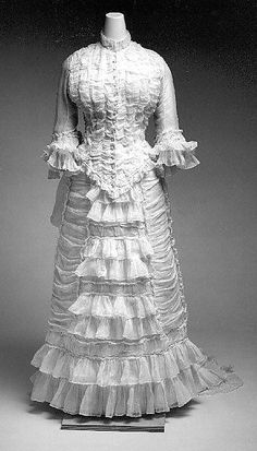 1880 dress, American, via The Met Costume Institute. I would love to have worn this as a wedding dress~