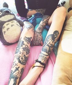 Hannah Snowdon's Leg Tattoos By Grace, Oliver And Wolfspit | Tumblr